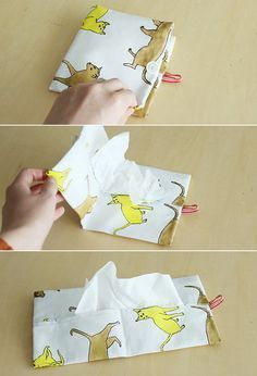 Box tissue can be used as it is! How to make a pocket tissue cover Sewing Art, Love Sewing, Hand Sewing, Sewing Crafts, Sewing Projects, Sewing Patterns, Handmade Decorations, Handmade Crafts, Diy And Crafts