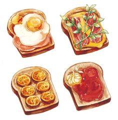 Toast w/ toppings ~ variety and drinks anime em peach n 梨 : Photos Food Crafts, Diy Food, Food Design, Food Sketch, Food Cartoon, Watercolor Food, Food Painting, Food Drawing, Drawing Drawing