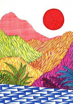 Art Inspo, Art Hippie, Art Du Collage, Art Et Illustration, Illustrations And Posters, Landscape Art, Cool Art, Art Projects, Art Drawings
