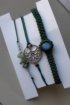 Moonstone macrame bracelet set Perfect gift idea Macrame