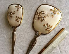 Stunning s Gold and Silver Tone Vanity Set: Brush, Comb and Hand Mirror Antique Vanity, Vintage Vanity, Glamour Decor, Art Deco Vanity, Dressing Table Set, Bedroom Decor For Teen Girls, Old Mirrors, Dresser Sets, Vintage Dressers
