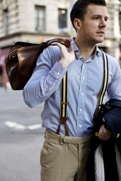 How to wear braces suspenders Classic Men, Mens Braces, Braces Suspenders, Suspenders Fashion, Men's Fashion, Planet Fashion, Fasion, High Fashion, Vest Outfits