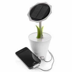 Charge your phone anywhere with this solar sunflower charger.