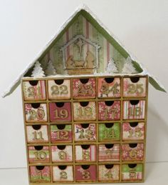 Altered advent calendar house shadow box:Christmas count down