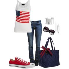 """""""4th of July Casual"""" by happygirljlc on Polyvore or Rather with my hand made Canadian flag T-Shirt using my son's hand print!!"""