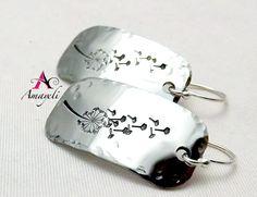 Dandelion earrings silver dandelion earrings flower by Amayeli