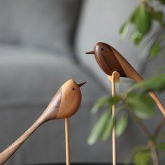 Danish Wooden Bird Wood Ornaments