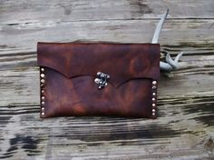 Rustic Leather Clutch with Hand Strap Nickel by StickDogLeather