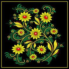 fleur peinture: Traditionnel Khokhloma-style de motif. National à la main de…