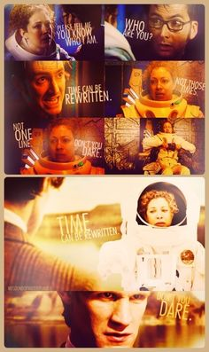 River Song. Time can be rewritten. Forest of the dead/impossible astronaut/wedding of river song.