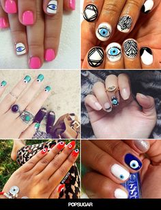 Ward off evil or just get some extra glances with these funky evil eye nail art designs!
