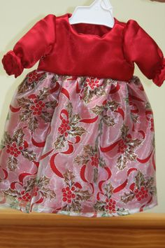 18 American Girl Doll Red Satin Holly Sheer Silver by sewlucky42, $16.00