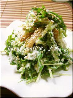 ☆殿堂入りレシピ☆お豆腐の和え衣をまとった水菜のサラダ♪白だしとごま油の上品な味でおもてなしにもおすすめ♡コンテスト受賞