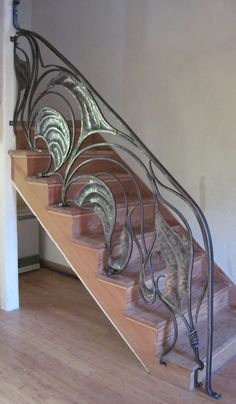 Wooden stairs and ornate art nouveau railings is creative inspiration for us. Get more photo about DIY home decor related with by looking at photos gallery at the bottom of this page. We are want to say thanks if you like to share this post to another people via your …