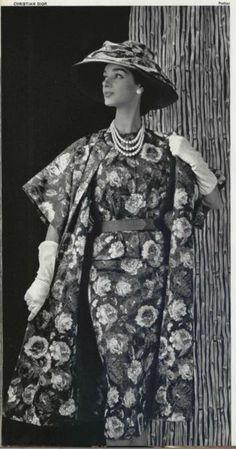 Model wears a Printed Ensemble by Christian Dior 1956