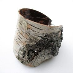 Jewelry | Jewellery | Art | Precious Metals | Jewels | Settings | Textures | Cuff | Bettula Designs by Heather. Birch wood bracelet.