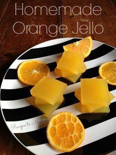 Orange Jello (No Refined Sugar) Homemade Orange Jello . Have you ever made REAL + healthy Jello? It's so easy! Skip those box mixes and whip up a batch of your own delicious Homemade Orange Jello in minutes. Jello Recipes, Whole Food Recipes, Snack Recipes, Cooking Recipes, Paleo Jello, Dessert Recipes, Healthy Sweets, Healthy Snacks, Healthy Recipes