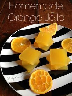 Homemade Orange Jello ... Have you ever made REAL + healthy Jello? It's so easy! Skip those box mixes and whip up a batch of your own delicious Homemade Orange Jello in minutes.   Recipes to Nourish