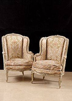 Pair Of French Antique Lacquered Louis XV Style Bergeres    Origin: France	Circa: 1890