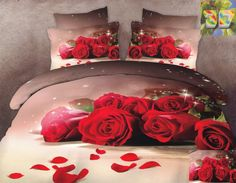 Czerwone róże pościel bawełniana w kolorze beżowym