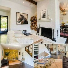 Fireplace, rug & art