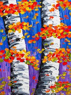 Original Fall Birch Tree Painting Aspen trees by KWJphotoart Birch Tree Art, White Birch Trees, Autumn Painting, Autumn Art, Autumn Forest, Wine And Canvas, Halloween Art, Art Plastique, Elementary Art