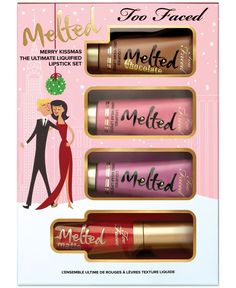 Have a very Merry Kissmas with four clutch-size tubes of our bestselling Melted Liquified Long Wear Lipstick in original, chocolate and matte formulas. Melted Lipstick comfortably coats lips in bursts