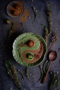 Chocolate and matcha smoothie bowl by claire gunn (