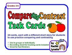 Use these 24 task cards to help your students practice comparing and contrasting. Each card has a short story, along with two compare and contrast ...