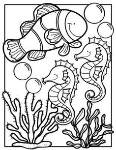 FREE Ocean Animals Coloring Book {Made by Creative Clips Clipart} Ocean Coloring Pages, Farm Animal Coloring Pages, Summer Coloring Pages, Flower Coloring Pages, Coloring Book Pages, Free Coloring, Coloring Pages For Kids, Mandala Coloring, Creative Clips