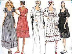 1970s BOHO CHIC Dress and Shawl Pattern VOGUE Basic Design 2553 High Waist Low…