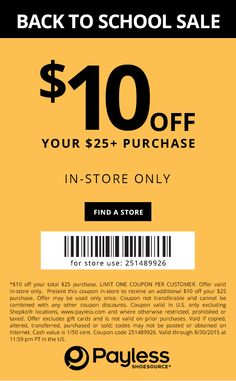 Pinned August 27th: $10 off $25 at Payless #Shoes #coupon via The #Coupons App
