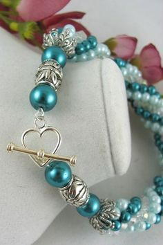 Teal Mint Glass Pearl Clear Swarovski Beaded Rope Bangle Bracelet.