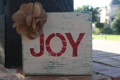 Upcycled wooden JOY sign by GraceFlowsFreely on Etsy, $12.00