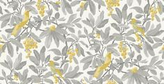 Royal Garden (98/1003) - Cole & Son Wallpapers - A vibrant and colourful, floral trailing wallpaper with leaves, berries and birds. Shown here in yellow and grey, with blue highlights, on off white. Other colourways are available. Please request a sample for a true colour match. This is a paste the wall product.