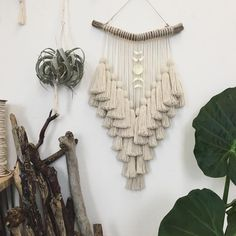 I'm finally caught up on projects & ready to start on a new collection for June … Macrame – Wall Hanging Yarn Wall Art, Yarn Wall Hanging, Macrame Art, Macrame Projects, Driftwood Macrame, Yarn Crafts, Diy And Crafts, Arts And Crafts, Diy Tassel Garland