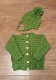 Ravelry: Peyton Baby Cardigan & Hat pattern by michelle stalker Crochet Toddler Sweater, Crochet Baby Cardigan Free Pattern, Baby Knitting Free, Baby Boy Knitting Patterns, Crochet Baby Sweaters, Baby Boy Sweater, Baby Sweater Patterns, Crochet Baby Clothes, Baby Patterns