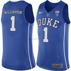 5a66213da36 Camisetas NCAA Duke NO.1 Zion Williamson Azul Baratas