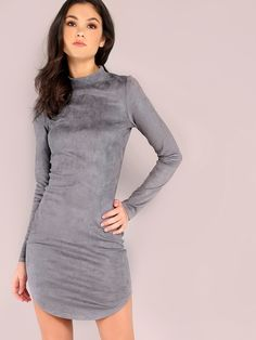 Shop Grey Mock Neck Curved Hem Bodycon Dress online. SheIn offers Grey Mock Neck Curved Hem Bodycon Dress & more to fit your fashionable needs.