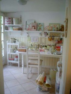 sewing room--love the bead board on the bottom and the white shelving at the top. Sewing Spaces, My Sewing Room, Sewing Rooms, Craft Room Storage, Craft Organization, Craft Rooms, Paper Storage, Organizing Tips, Cottage Crafts