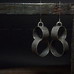 Long earrings Raw sterling silver Oxidized by karolinaadamus