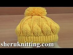 How to Crochet Beanie Hat With Leaves Tutorial 146 Virkkaa hattu - Watch Video Bonnet Crochet, Crochet Beanie Hat, Crochet Shawl, Beanie Hats, Crochet Stitches, Knitted Hats, Knit Crochet, Crochet Patterns, Ravelry Crochet