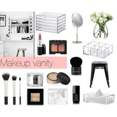 Makeup vanity by emmadaisley on Polyvore featuring Belleza, NARS Cosmetics, Bobbi Brown Cosmetics, Givenchy, Chanel, LSA International, Voluspa, Crate and Barrel and Muji