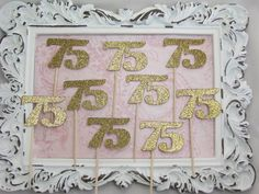 75 Birthday Cupcake Toppers Number Birthday by GoldenNestStudio