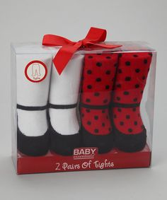 Just for darlings, these tights are designed to playfully pass for Mary Janes. A set of two ensures that Baby's gams will always be fashionable and fun.