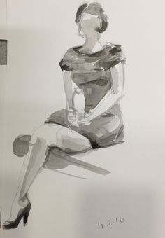 Croquis with ink. Fashion illustration.