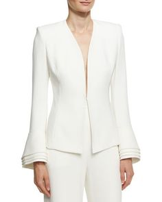 Layered-Cuff+Crepe+Jacket,+Ivory+by+Brandon+Maxwell+at+Bergdorf+Goodman.