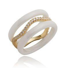 Pierścionek srebrny z ceramiki i kryształów TANIO!