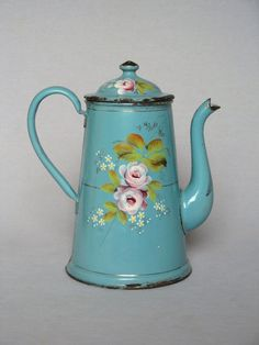 Hand-Painted Floral French Enamel Coffee Pot
