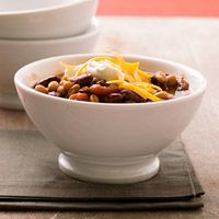 Three-Bean Vegetarian Chili...going to try this this week. Super easy and healthy!